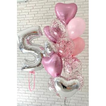 Μπουκέτο με Μπαλόνια Latex 11', Foil 18'  Καρδιές και Νούμερο.